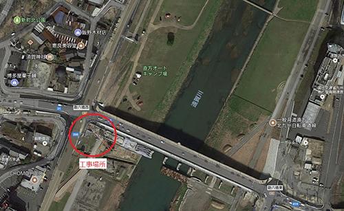 境口頓野線勘六橋下部工撤去・設置工事(1工区) 施工中です